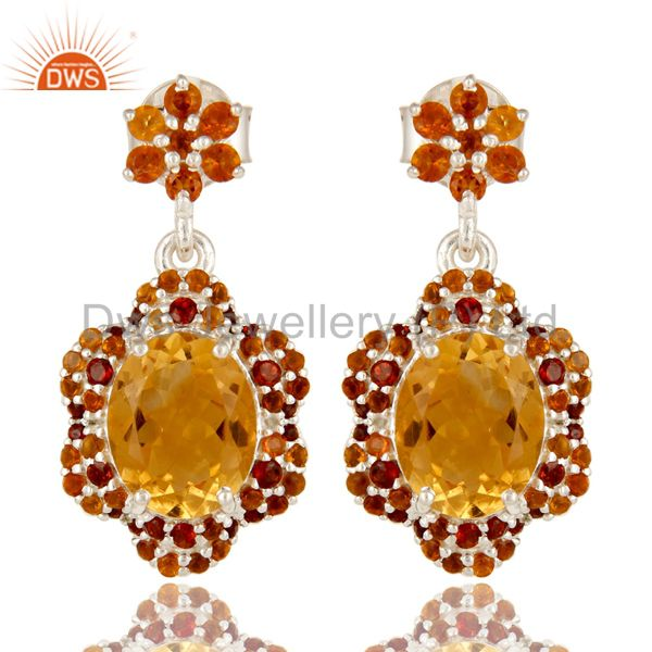 925 Sterling Silver Natural Citrine And Garnet Gemstone Cluster Dangle Earrings