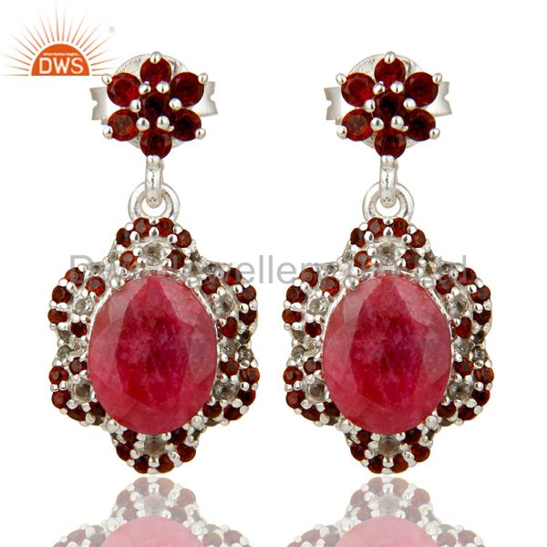 Ruby and Garnet Dangle Sterling Silver Earring With White Topaz