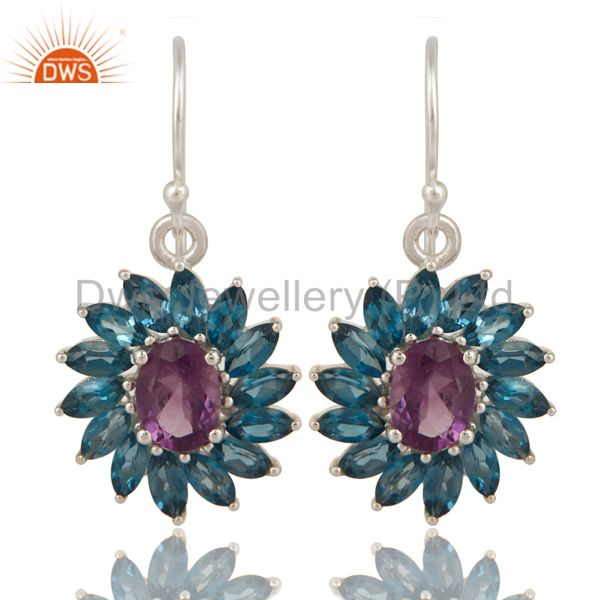Amethyst And Blue Topaz Sterling Silver Floral Dangle Hook Earrings