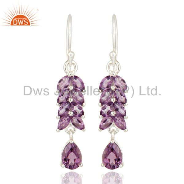 Marquise Cut Amethyst Gemstone 925 Sterling Silver Dangle Earrings