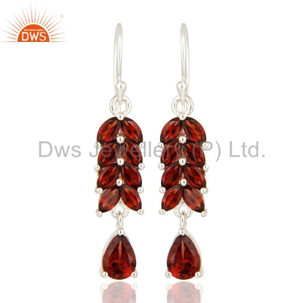 Natural Garnet Genuine Sterling Silver Gemstone Solitaire Dangle Earrings