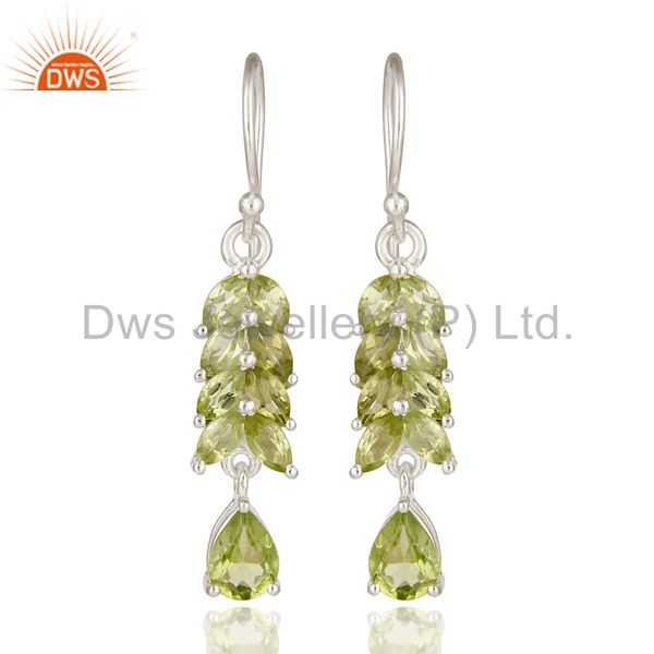 Designer 925 Sterling Silver Peridot Gemstone Cluster Dangle Earrings