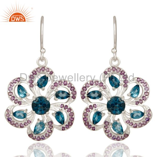 925 Sterling Silver London Blue Topaz And Amethyst Flower Dangle Earrings