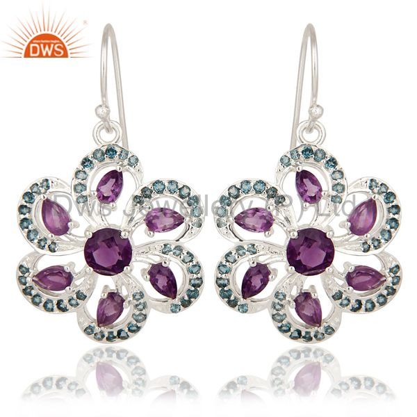 925 Sterling Silver Amethyst And Blue Topaz Flower Dangle Earrings