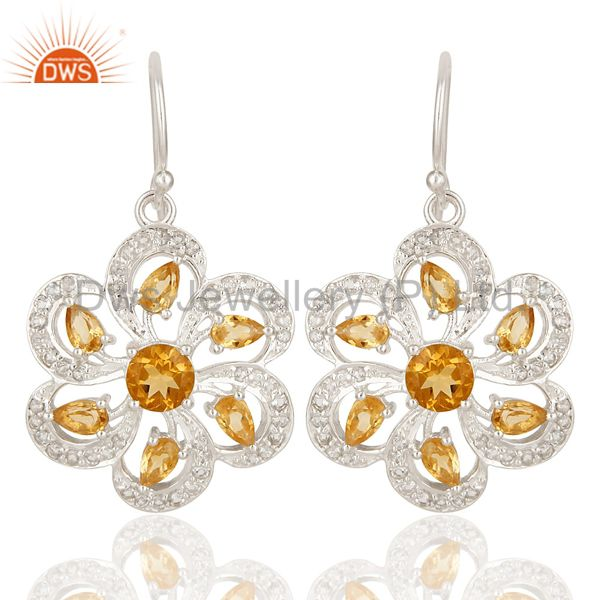 925 Sterling Silver Citrine And White Topaz Cluster Floral Dangle Earrings