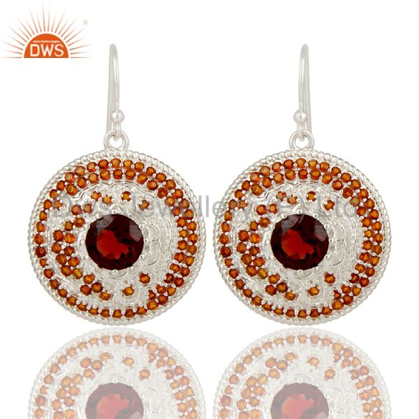 925 Sterling Silver Citrine and Garnet Gemstone Disc Designer Dangle Earrings