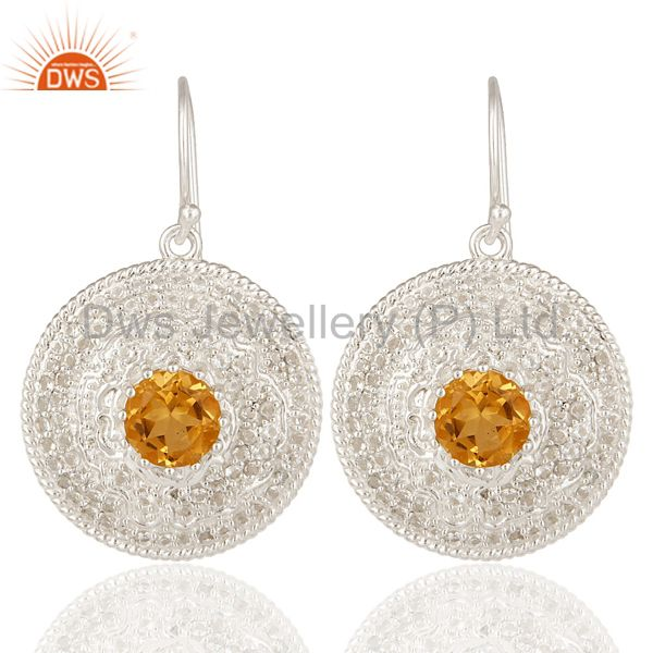 925 Sterling Silver Citrine And White Topaz Gemstone Disc Dangle Earrings