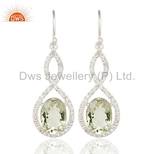 Green Amethyst And White Topaz Gemstone Sterling Silver Dangle Earrings