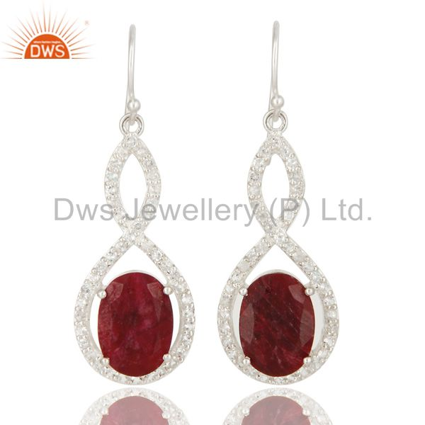 Oval Ruby Corundum And White Topaz Solitaire Sterling Silver Dangle Earrings