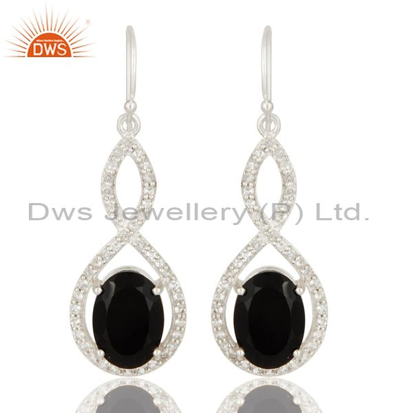 Natural Black Onyx And White Topaz Sterling Silver Infinity Dangle Earrings