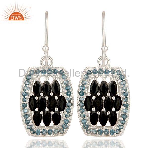 925 Sterling Silver London Blue Topaz And Black Onyx Cluster Dangle Earrings