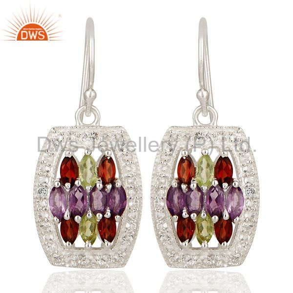 Amethyst, Garnet And Peridot Sterling Silver Designer Earrings With White Topaz