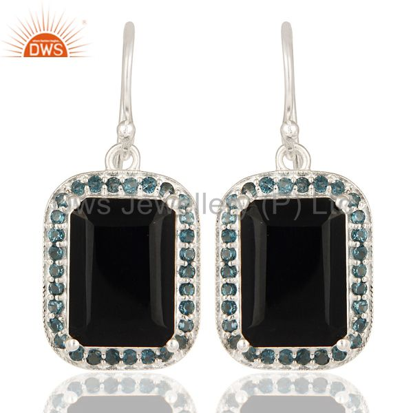 925 Sterling Silver Black Onyx And Blue Topaz Gemstone Drop Earrings
