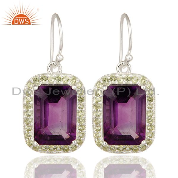 Emerald Cut Natural Amethyst Gemstone 925 Sterling Silver Dangle Earrings