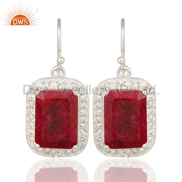 925 Sterling Silver Dyed Ruby And White Topaz Dangle Earrings