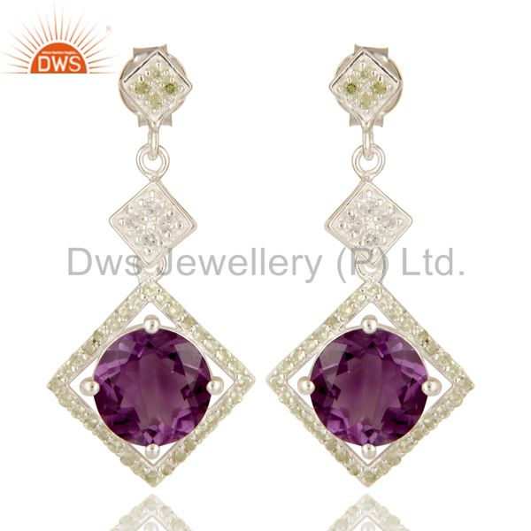 925 Sterling Silver Amethyst, Peridot And White Topaz Designer Dangle Earrings