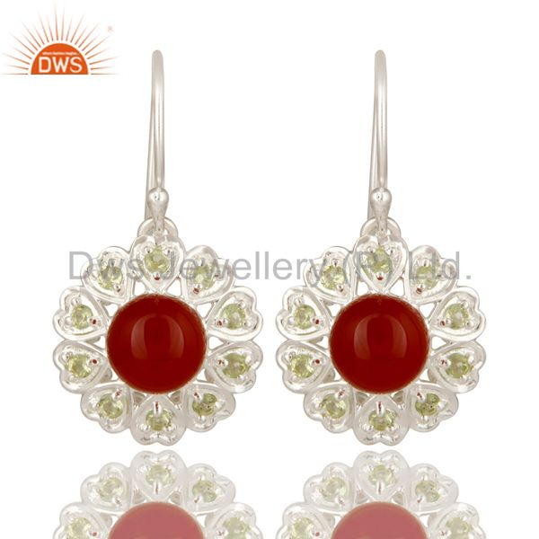 925 Sterling Silver Red Onyx And Peridot Gemstone Designer Heart Earrings
