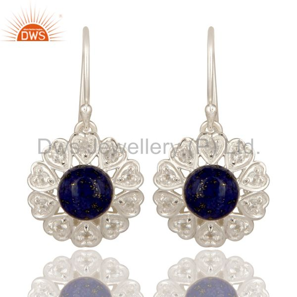 Lapis Lazuli And White Topaz Gemstone Sterling Silver Designer Heart Earrings