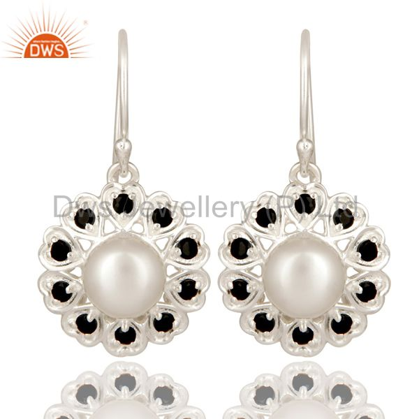 925 Sterling Silver White Pearl And Black Onyx Gemstone Designer Dangle Earrings