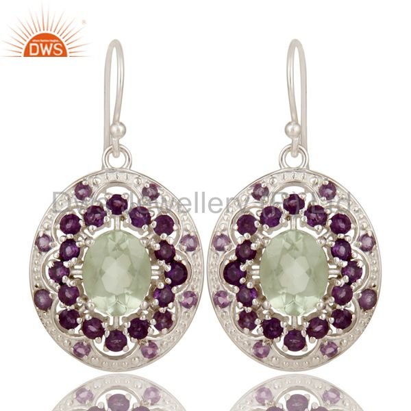 925 Sterling Silver Purple Amethyst And Green Amethyst Designer Dangle Earrings