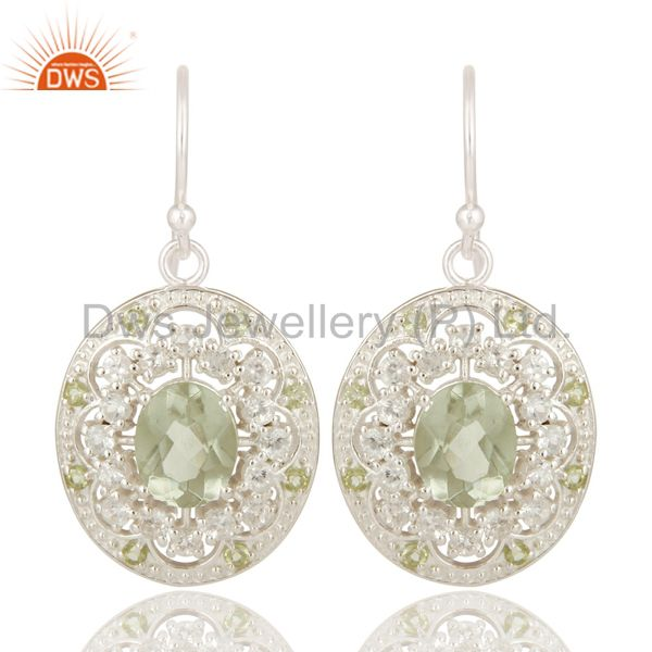 925 Sterling Silver Green Amethyst, Peridot And White Topaz Dangle Earrings