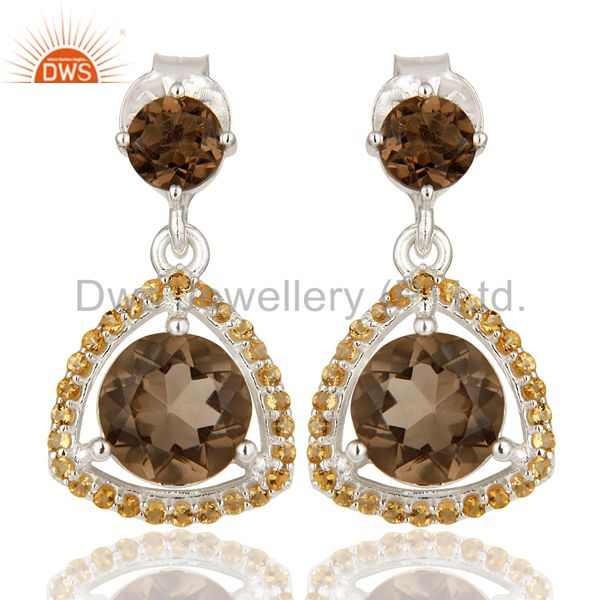 Designer Citrine And Smoky Quartz Gemstone Dangle Earrings In Sterling Silver