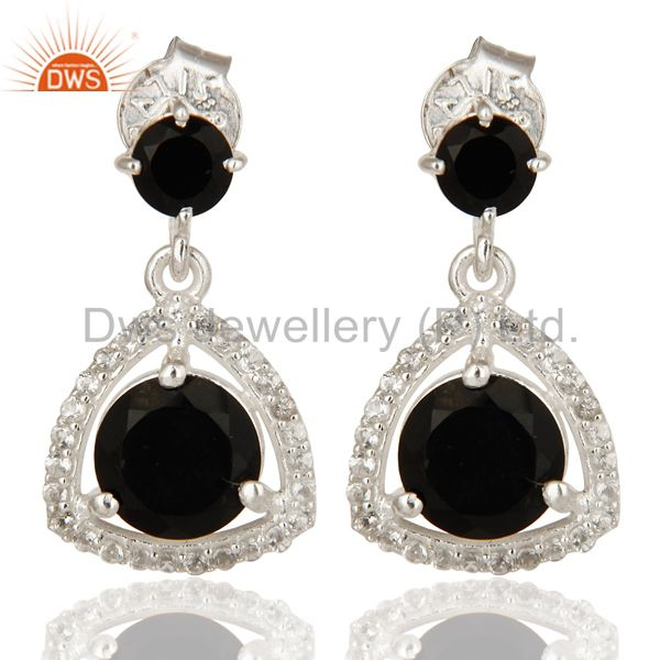 Genuine 925 Sterling Silver White Topaz And Black Onyx Prong Set Earrings