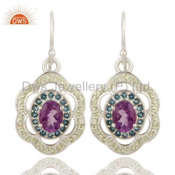 Amethyst, Blue Topaz And Peridot Gemstone Designer Earrings in Sterling Silver