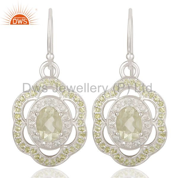 Green Amethyst, Peridot And White Topaz Sterling Silver Designer Earrings