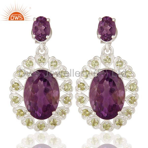 925 Sterling Silver Natural Amethyst And Peridot Fine Gemstone Dangle Earrings