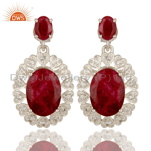 Ruby Red Corundum And White Topaz Sterling Silver Prong Set Dangle Earrings