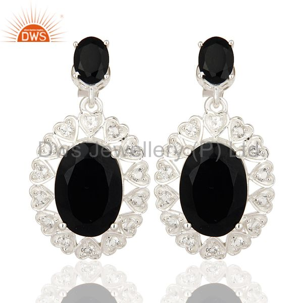 Oval Cut Black Onyx And White Topaz Sterling Silver Designer Earrings