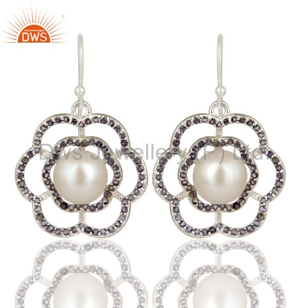 925 Sterling Silver White Pearl And Iolite Flower Dangle Earrings