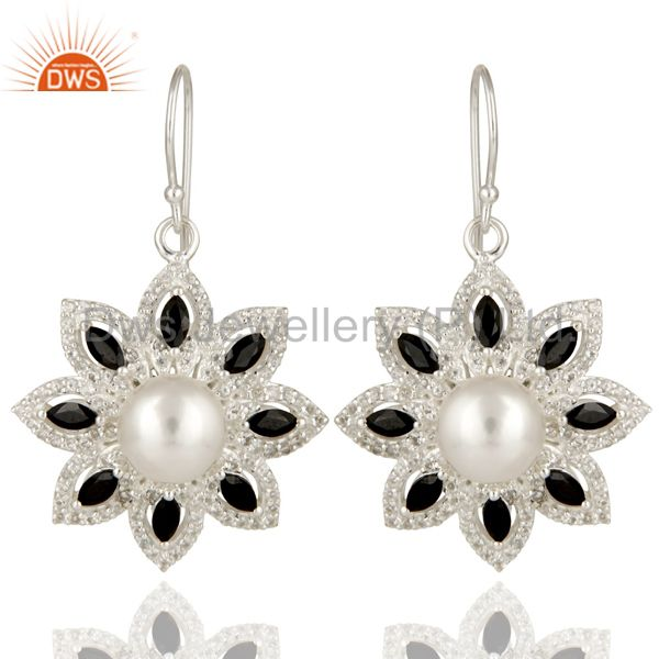 925 Sterling Silver Pearl, Black Onyx And White Topaz Flower Dangle Earrings