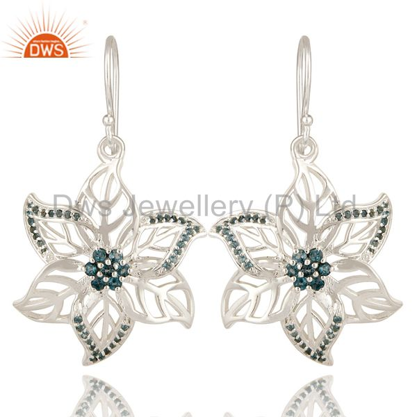 925 Sterling Silver London Blue Topaz Gemstone Floral Design Dangle Earrings