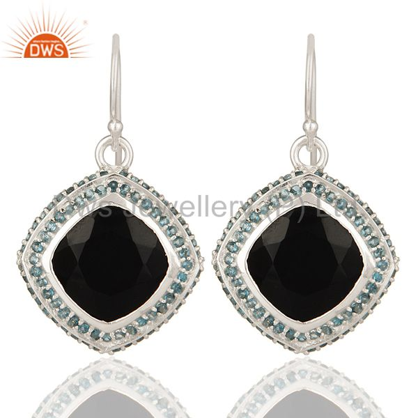 Natural Black Onyx And Blue Topaz Gemstone Earrings In Sterling Silver