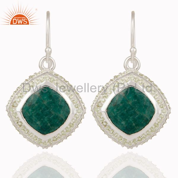 Natural Emerald and Peridot Gemstone Earrings In Sterling Silver
