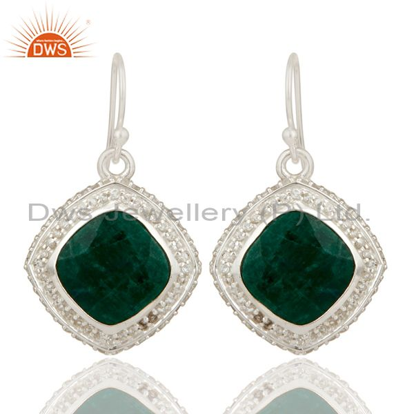 Natural Emerald and White Topaz Gemstone Earrings In Sterling Silver