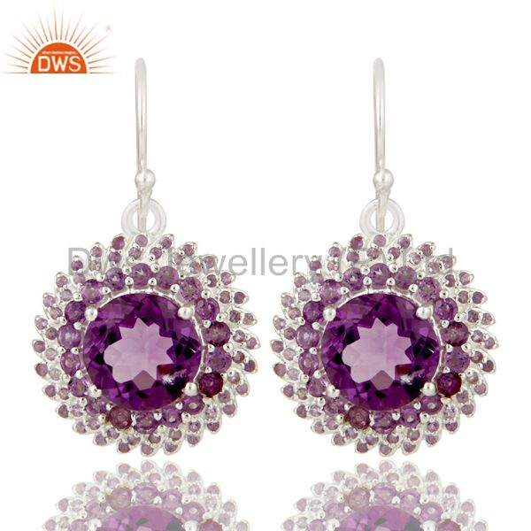 925 Sterling Silver and Amethyst Gemstone Flower Dangle Designer Earrings