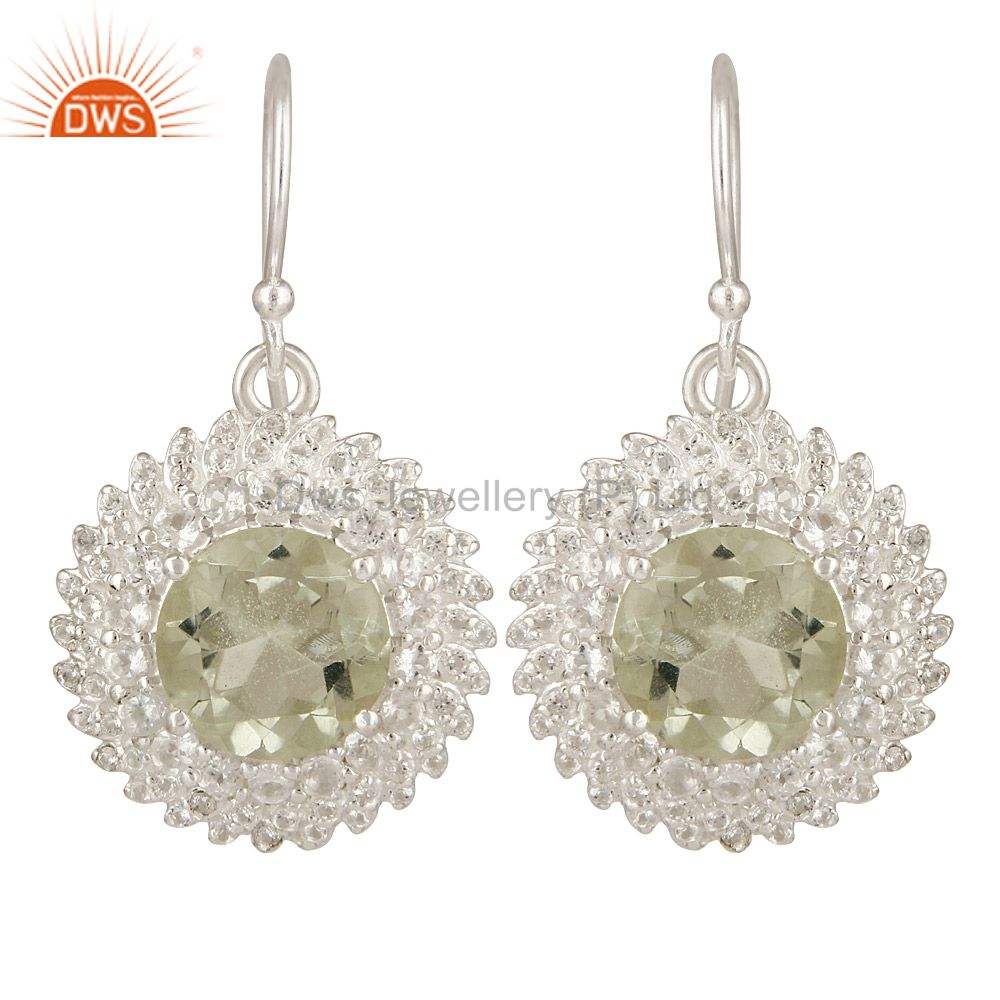 925 Sterling Silver Green Amethyst And White Topaz Gemstone Dangle Earrings