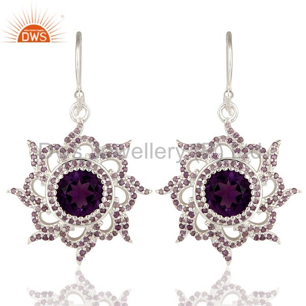 Designer 925 Sterling Silver Amethyst Gemstone Womens Dangle Earrings