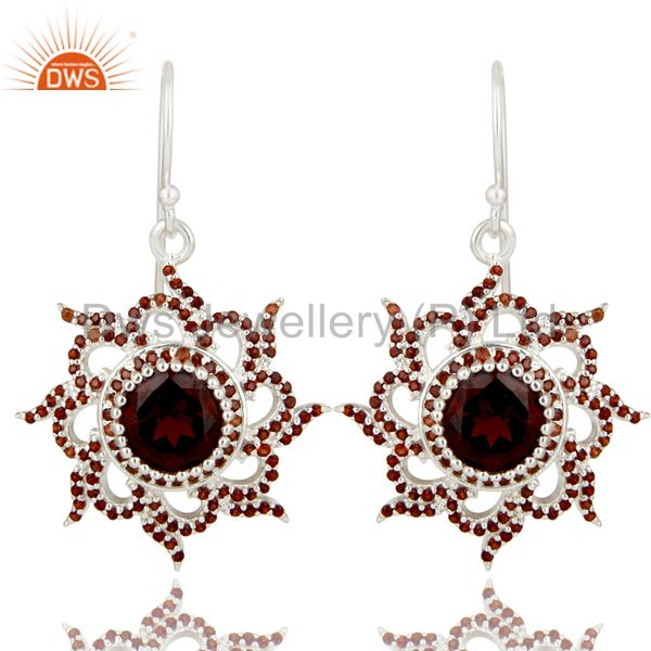 Solid 925 Sterling Silver Round Cut Garnet Gemstone Designer Dangle Earrings