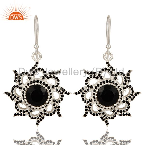 Solid 925 Sterling Silver Flower Design Spinal & Black Onyx Drops Earrings