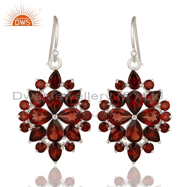 Genuine 925 Sterling Silver Garnet Gemstone Solitaire Dangle Earrings