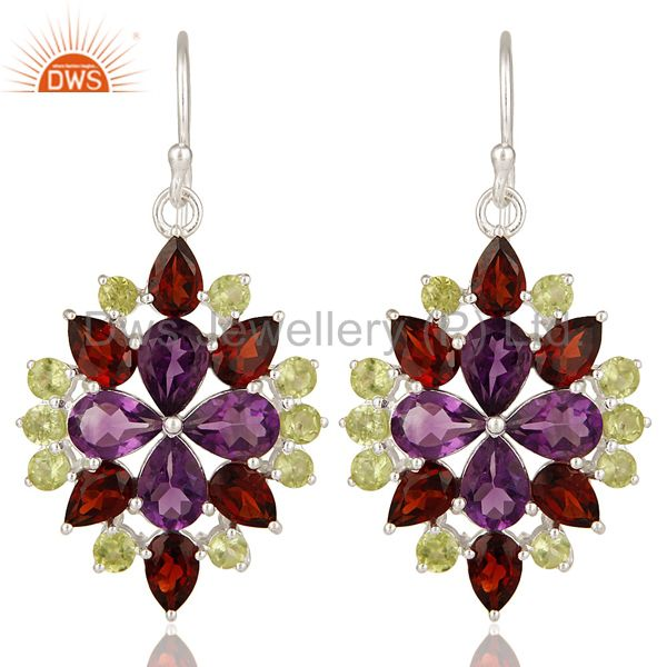 925 Sterling Silver Amethyst, Peridot And Garnet Flower Dangle Earrings