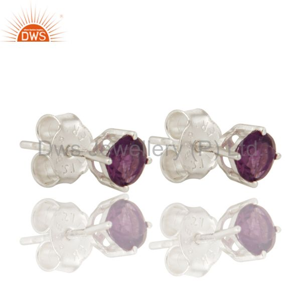 925 Sterling Silver Amethyst Gemstone Round Stud Earrings For Womens