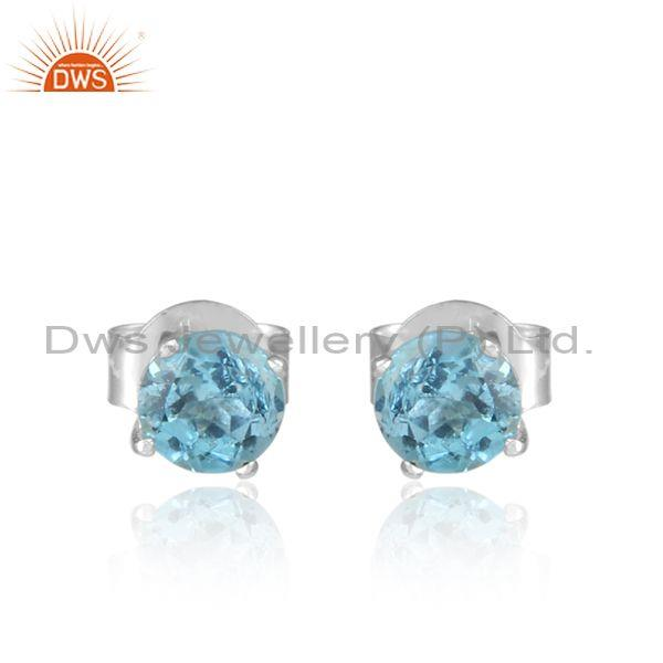 Blue topaz set fine 925 sterling silver fancy statement tops