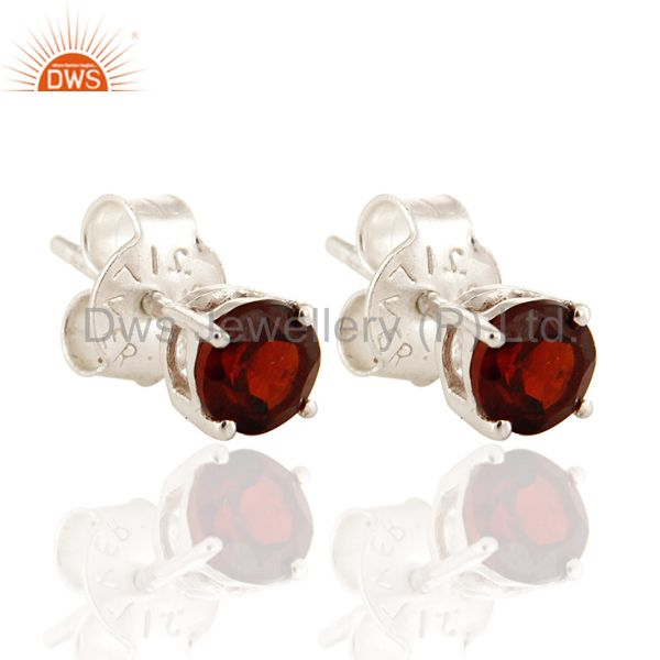 925 Sterling Silver Natural Garnet Prong Set Gemstone Stud Earrings