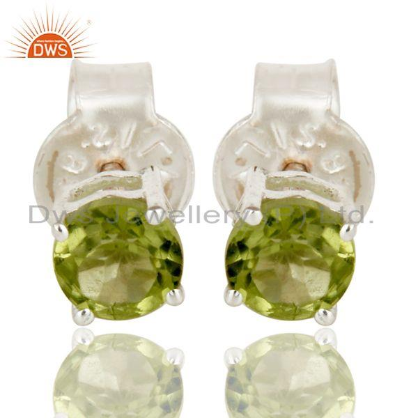 Ladies Peridot Gemstone Prong Set Stud Earrings In 925 Sterling Silver