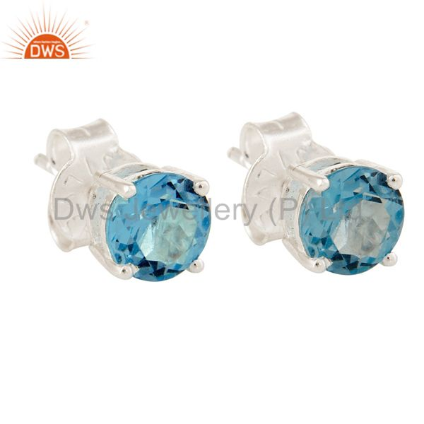 925 Sterling Silver Blue Topaz Gemstone Round Stud Earrings
